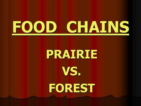 FOOD CHAINS PRAIRIEVS.FOREST PRAIRIE Describe four things the prairie dogs need to live that they obtain from their habitat.