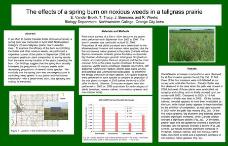 The effects of a spring burn on noxious weeds in a tallgrass prairie E. Vander Broek, T. Tracy, J. Boersma, and R. Weeks Biology Department, Northwestern.