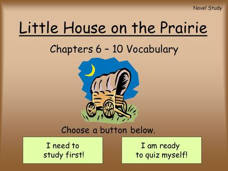 Little House on the Prairie Chapters 6 – 10 Vocabulary I need to study first! I am ready to quiz myself! Choose a button below. Novel Study.