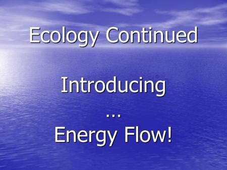 Ecology Continued Introducing … Energy Flow!. Let's take a step back. What is Ecology? Any guesses? Any guesses? Definition: The study of interactions.