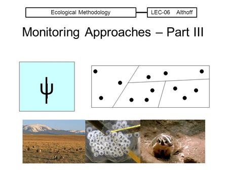 Monitoring Approaches – Part III ψ Ecological MethodologyLEC-06 Althoff.