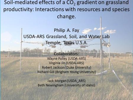 Soil-mediated effects of a CO 2 gradient on grassland productivity: Interactions with resources and species change. Philip A. Fay USDA-ARS Grassland, Soil,