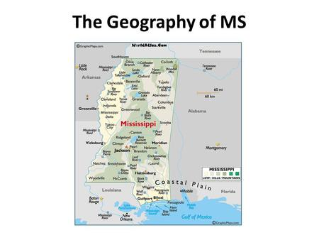 The Geography of MS. Just the Facts: 1.The state of Mississippi takes its name from the Mississippi River, which is named from Native American words that.