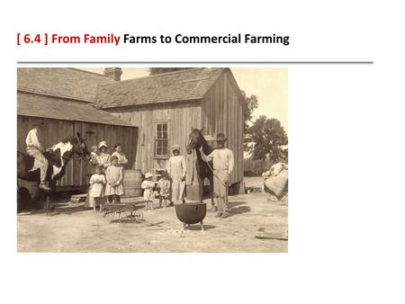 [ 6.4 ] From Family Farms to Commercial Farming. Learning Objectives Analyze the factors that encouraged people to move to Texas during the 19th century.