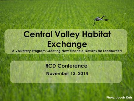 Central Valley Habitat Exchange A Voluntary Program Creating New Financial Returns for Landowners RCD Conference November 13, 2014 Photo: Jacob Katz.