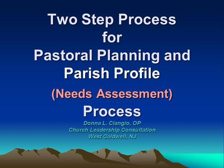 Two Step Process for Pastoral Planning and Parish Profile (Needs Assessment) Process Donna L. Ciangio, OP Church Leadership Consultation West Caldwell,