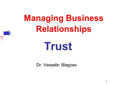 Managing Business Relationships Trust