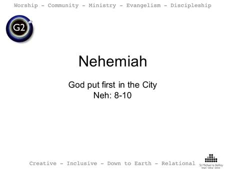 Nehemiah God put first in the City Neh: 8-10. Write a cryptic confession on one of the cards on the table.