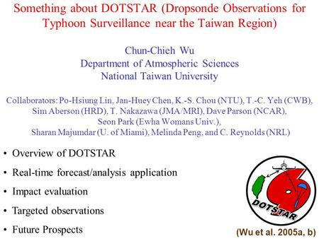 Something about DOTSTAR (Dropsonde Observations for Typhoon Surveillance near the Taiwan Region) Chun-Chieh Wu Department of Atmospheric Sciences National.