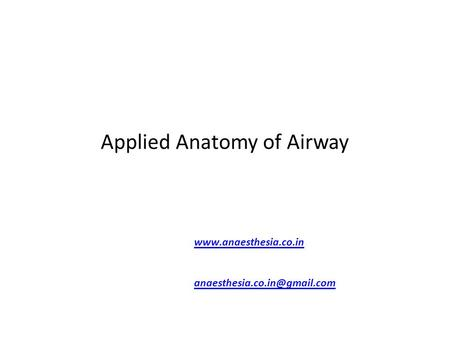 Applied Anatomy of Airway