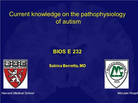 Current knowledge on the pathophysiology of autism BIOS E 232 Sabina Berretta, MD Harvard Medical School McLean Hospital.