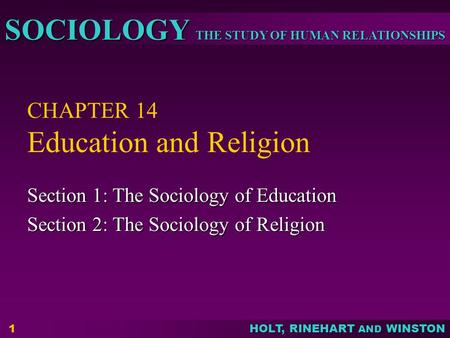CHAPTER 14 Education and Religion