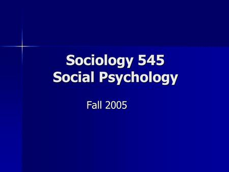 Sociology 545 Social Psychology Fall 2005. Topics Social Groups Social Groups Social Institutions Social Institutions Collective Behavior / Social Movements.