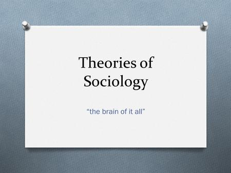 "Theories of Sociology ""the brain of it all"". Objectives: At the end of this unit students will be able to: O Identify and explain the three major sociological."