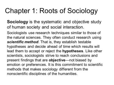 Sociology and human interaction