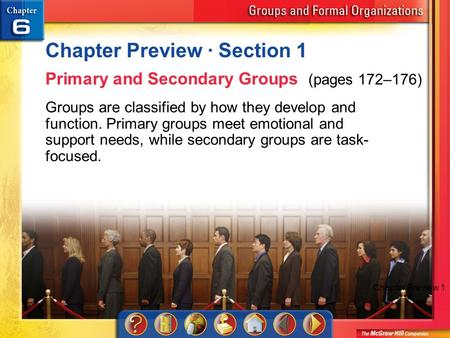 Chapter Preview 1 Chapter Preview · Section 1 Primary and Secondary Groups (pages 172–176) Groups are classified by how they develop and function. Primary.
