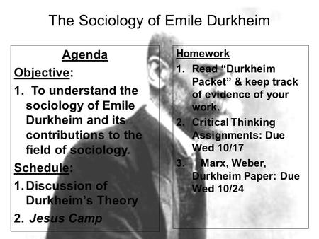 The Sociology of Emile Durkheim
