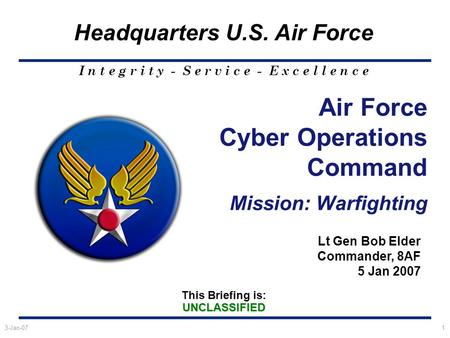 This Briefing is:UNCLASSIFIED Headquarters U.S. Air Force I n t e g r i t y - S e r v i c e - E x c e l l e n c e 3-Jan-071 Air Force Cyber Operations.