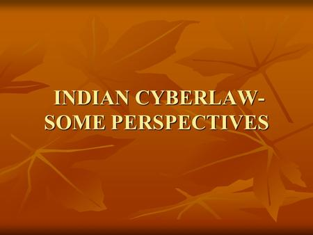 INDIAN CYBERLAW- SOME PERSPECTIVES INDIAN CYBERLAW- SOME PERSPECTIVES.