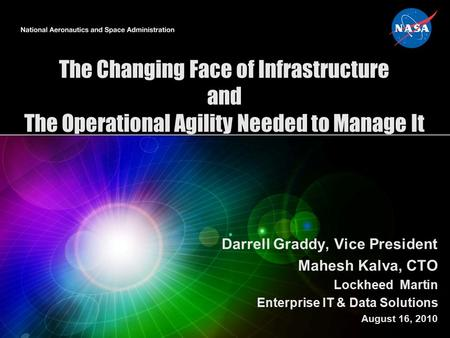 The Changing Face of Infrastructure and The Operational Agility Needed to Manage It Darrell Graddy, Vice President Mahesh Kalva, CTO Lockheed Martin Enterprise.