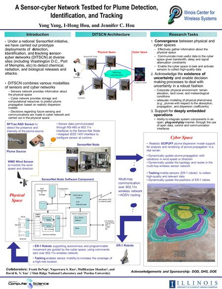 A Sensor-cyber Network Testbed for Plume Detection, Identification, and Tracking Yong Yang, I-Hong Hou, and Jennifer C. Hou Illinois Center for Wireless.