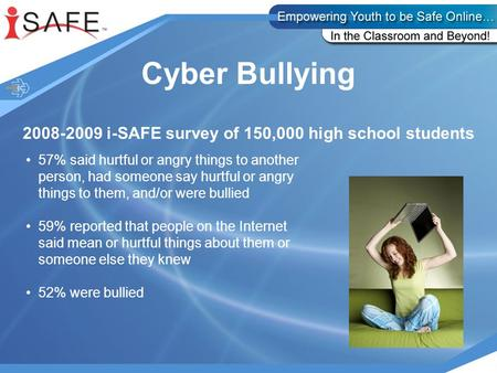 Cyber Bullying 2008-2009 i-SAFE survey of 150,000 high school students 57% said hurtful or angry things to another person, had someone say hurtful or angry.