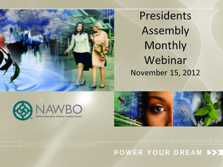 Presidents Assembly Monthly Webinar November 15, 2012.