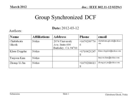 Submission doc.: IEEE 802.11-12/0329r1 March 2012 Chittabrata Ghosh, Nokia Slide 1 Date: 2012-03-12 Authors: Group Synchronized DCF.