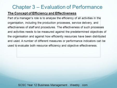 Chapter 3 – Evaluation of Performance The Concept of Efficiency and Effectiveness Part of a manager's role is to analyse the efficiency of all activities.