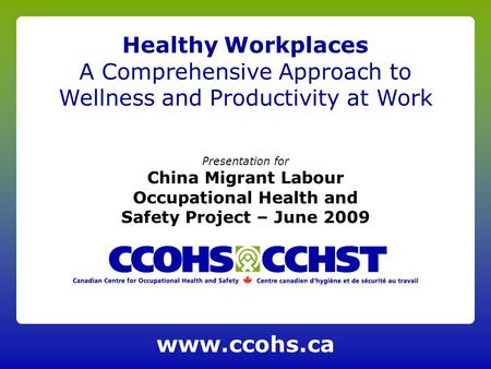 Presentation for China Migrant Labour Occupational Health and Safety Project – June 2009 Healthy Workplaces A Comprehensive Approach to Wellness and Productivity.