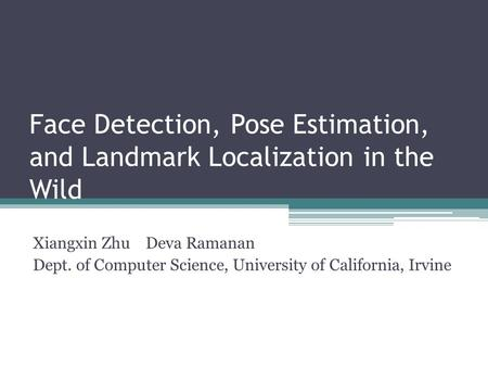 Face Detection, Pose Estimation, and Landmark Localization in the Wild