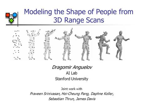 Modeling the Shape of People from 3D Range Scans Dragomir Anguelov AI Lab Stanford University Joint work with Praveen Srinivasan, Hoi-Cheung Pang, Daphne.
