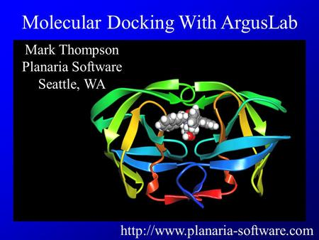 Mark Thompson Planaria Software Seattle, WA  Molecular Docking With ArgusLab.