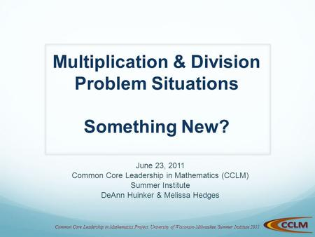 Multiplication & Division Problem Situations Something New?