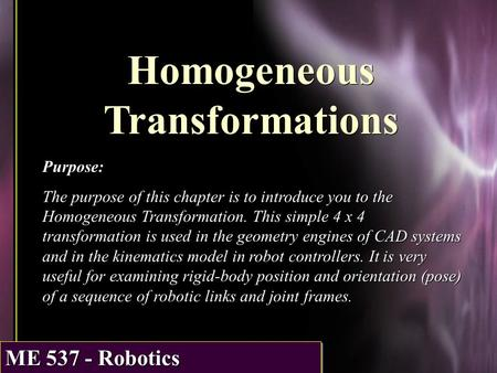 Homogeneous Transformations