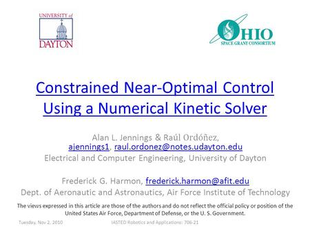 Constrained Near-Optimal Control Using a Numerical Kinetic Solver Alan L. Jennings & Ra úl Ordóñez, ajennings1,
