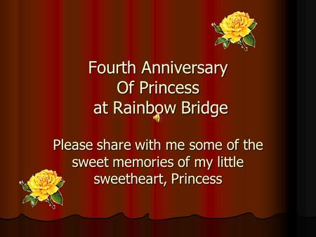 Fourth Anniversary Of Princess at Rainbow Bridge Please share with me some of the sweet memories of my little sweetheart, Princess.