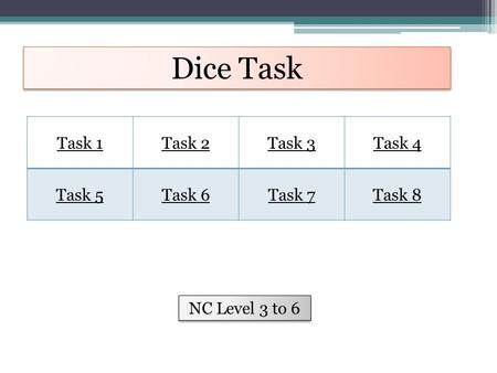Dice Task Task 1Task 2Task 3Task 4 Task 5Task 6Task 7Task 8 NC Level 3 to 6.