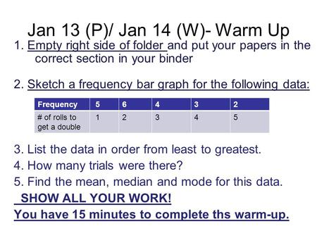 Jan 13 (P)/ Jan 14 (W)- Warm Up 1. Empty right side of folder and put your papers in the correct section in your binder 2. Sketch a frequency bar graph.