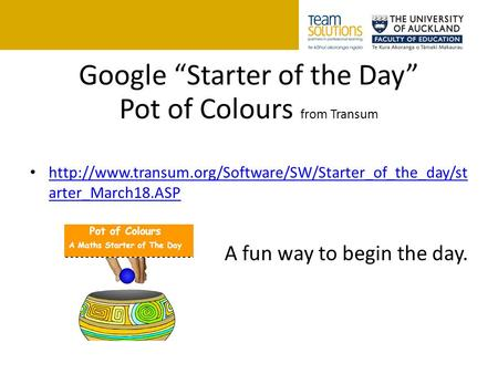 "Google ""Starter of the Day"" Pot of Colours from Transum  arter_March18.ASP"