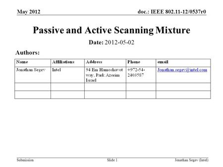 Doc.: IEEE 802.11-12/0537r0 Submission May 2012 Jonathan Segev (Intel)Slide 1 Passive and Active Scanning Mixture Date: 2012-05-02 Authors: