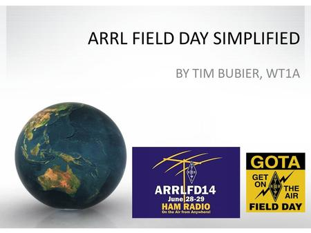 ARRL FIELD DAY SIMPLIFIED BY TIM BUBIER, WT1A. Field Day Simplified Purpose of Field Day Basic Rules The Contact Exchange Scoring Station Setup Strategies.