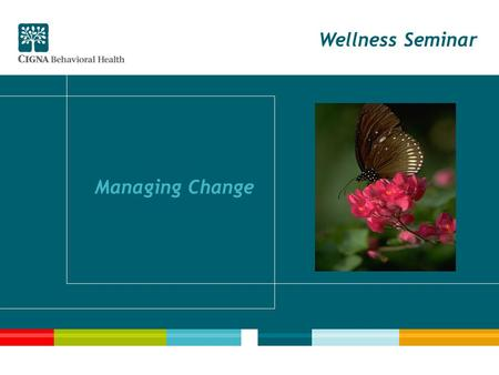 Wellness Seminar Managing Change. 2 Seminar Goals Recognize change as ongoing and normal Identify changes in the workplace Determine your reactions to.