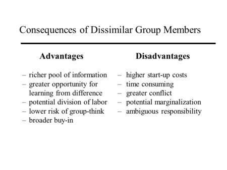 Consequences of Dissimilar Group Members Advantages –richer pool of information –greater opportunity for learning from difference –potential division of.