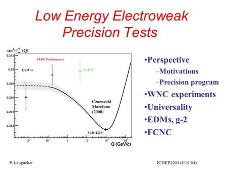P. Langacker ICHEP2004 (8/16/04) Low Energy Electroweak Precision Tests Perspective –Motivations –Precision program WNC experiments Universality EDMs,