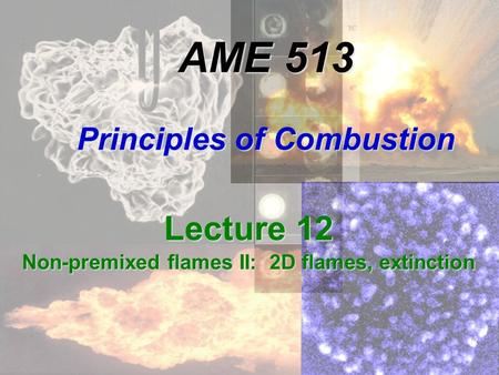 AME 513 Principles of Combustion Lecture 12 Non-premixed flames II: 2D flames, extinction.
