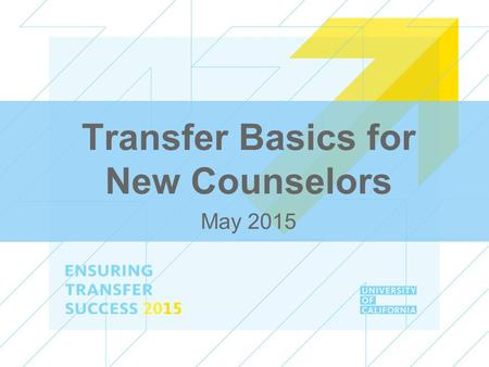 Transfer Basics for New Counselors May 2015. ENSURING TRANSFER SUCCESS 2015 Session Overview ●Transfer admission overview ●Transfer programs ●Tools ●Basic.