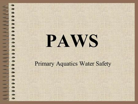 PAWS Primary Aquatics Water Safety. PAWS It was brought into the IWS Syllabus in 2004 Aquatics is now part of the Primary School P.E. Curriculum.