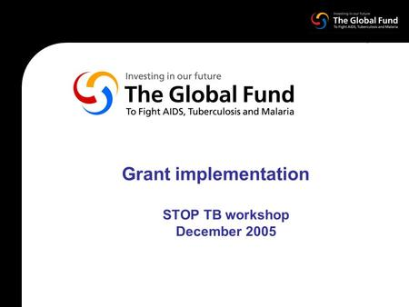 Grant implementation STOP TB workshop December 2005.