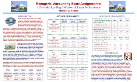 Managerial Accounting Excel Assignments: A Potential Leading Indicator of Exam Performance Michael J. Krause INTRODUCTION During the spring 2012 semester,